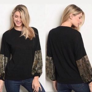 Black Knit sweater with gold sleeve detail